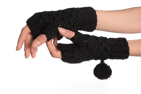 Black Knitted Fingerless Mittens With Pompons