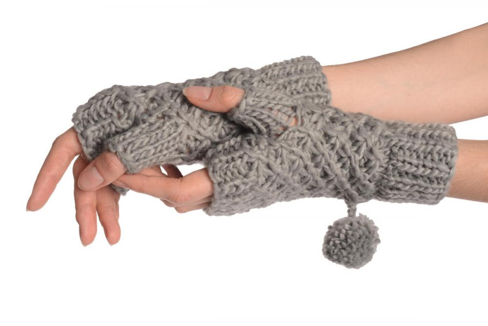 Grey Knitted Fingerless Mittens With Pompons