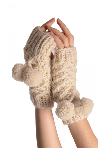Sand White Knitted Fingerless Mittens With Pompons