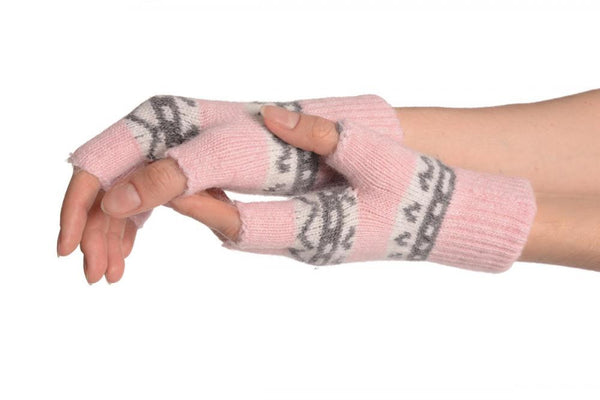 Angora Pink Fair Isle Knitted Fingerless Gloves