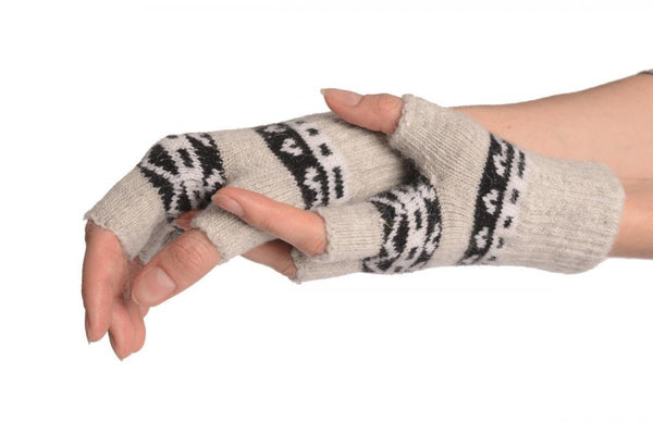 Angora Grey Fair Isle Knitted Fingerless Gloves