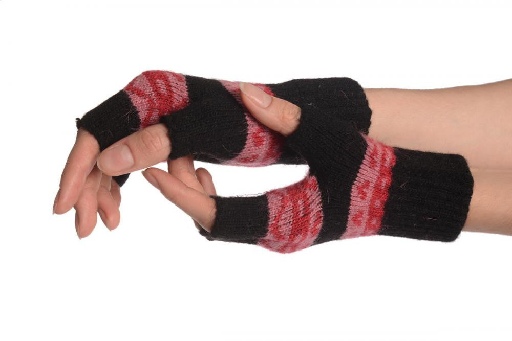 Angora Black Fair Isle Knitted Fingerless Gloves