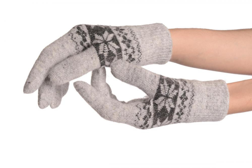 Angora Grey Fair Isle Knitted Gloves