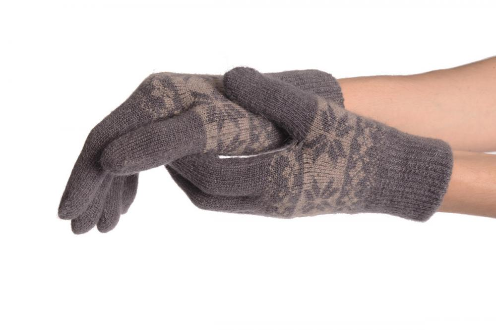 Angora Slate Grey Fair Isle Knitted Gloves