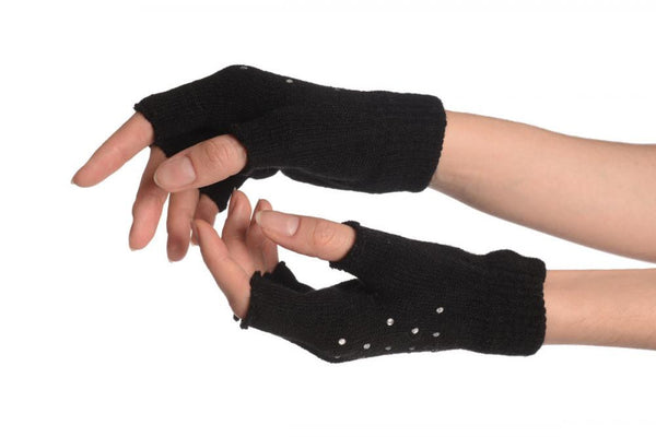 Black Gloves & Fingerless Gloves With Crystals (2 Pairs Set)