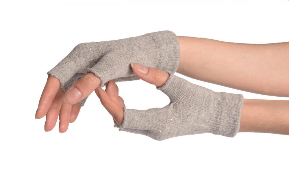 Grey Gloves & Fingerless Gloves With Crystals (2 Pairs Set)
