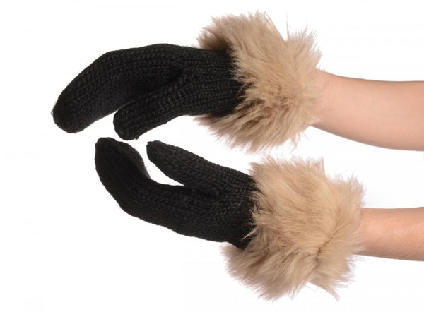 Black Knitted With Faux Fur Mittens