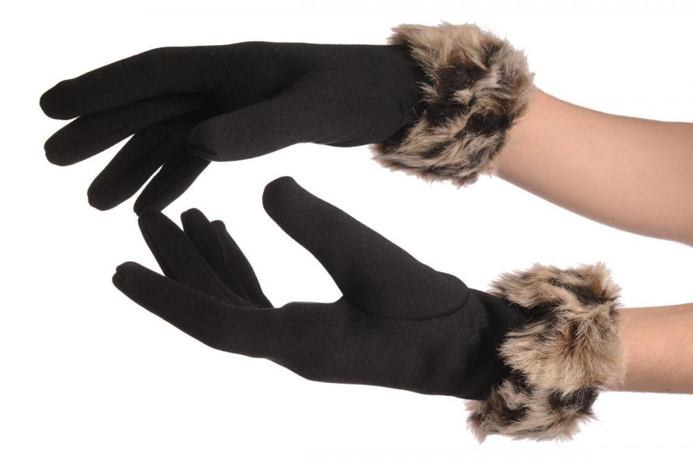 Black With Beige Faux Fur Gloves