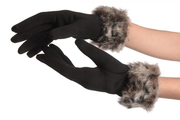 Black With Grey Faux Fur Gloves