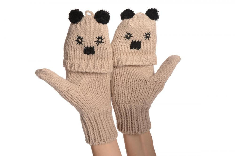 Bear Face Beige Knitted Fingerless Flip Gloves
