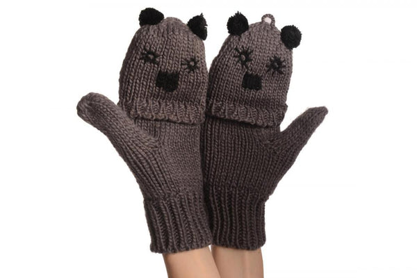 Bear Face Grey Knitted Fingerless Flip Gloves