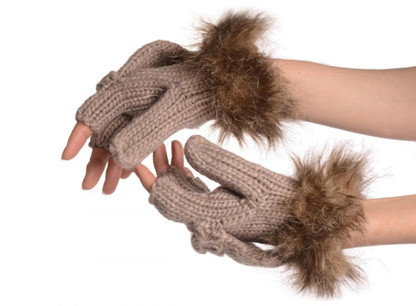 Knitted Beige Grey Fingerless Flip Gloves With Faux Fur