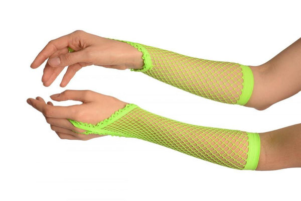 Neon Green Finger Loop Fishnet Party Gloves