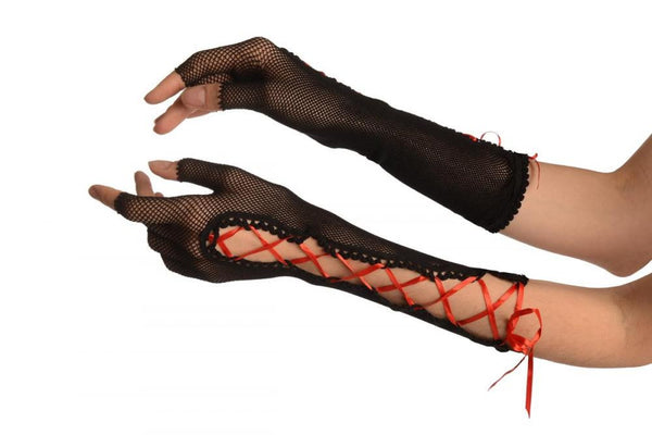 Black Fishnet Red Lace Up Fingerless Gloves
