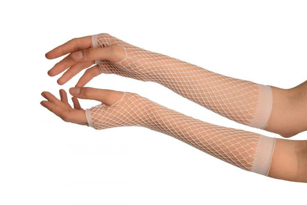 White Fishnet Fingerless Party Gloves