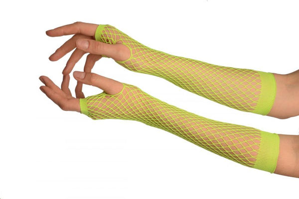 Neon Green Fishnet Fingerless Party Gloves