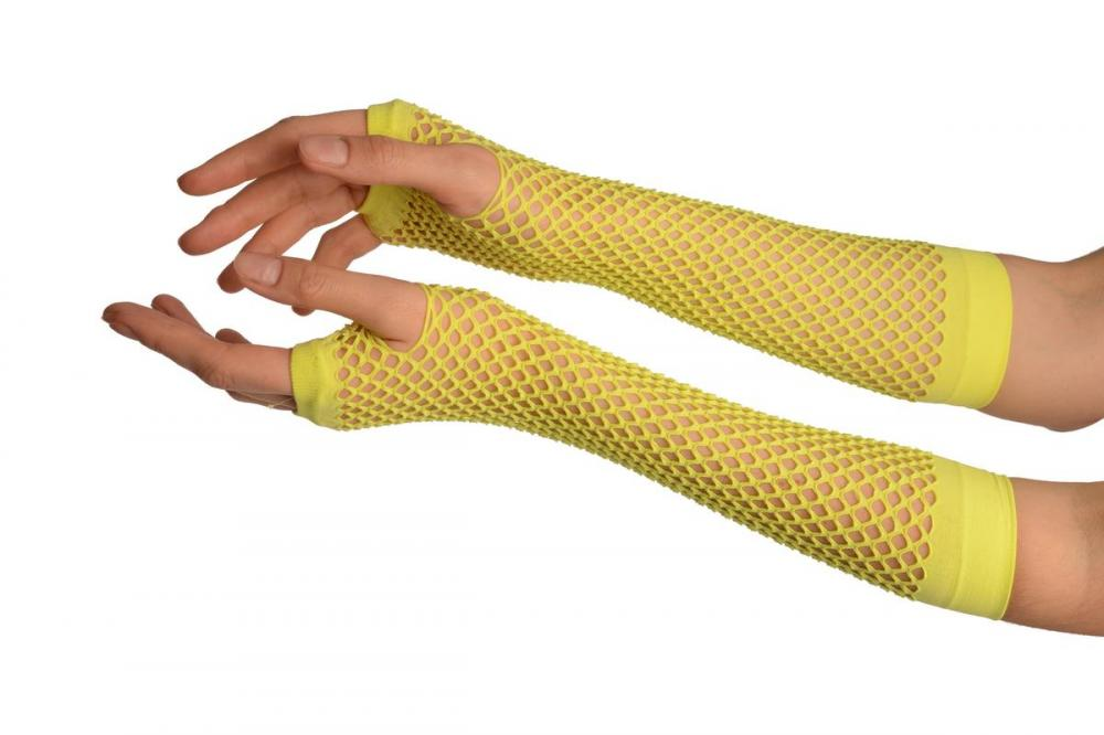 Neon Yellow Fishnet Mesh Net Fingerless Party Gloves