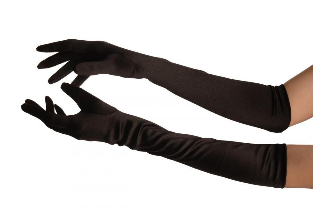 Black Stretchy Satin Wedding Opera Gloves