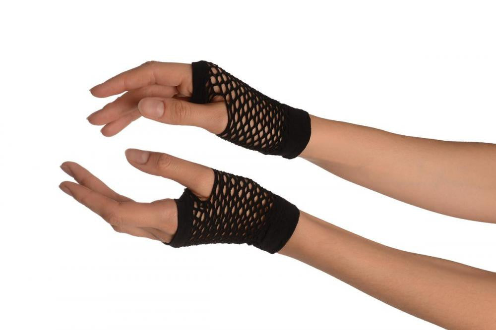 Black Fishnet Fingerless Party Gloves