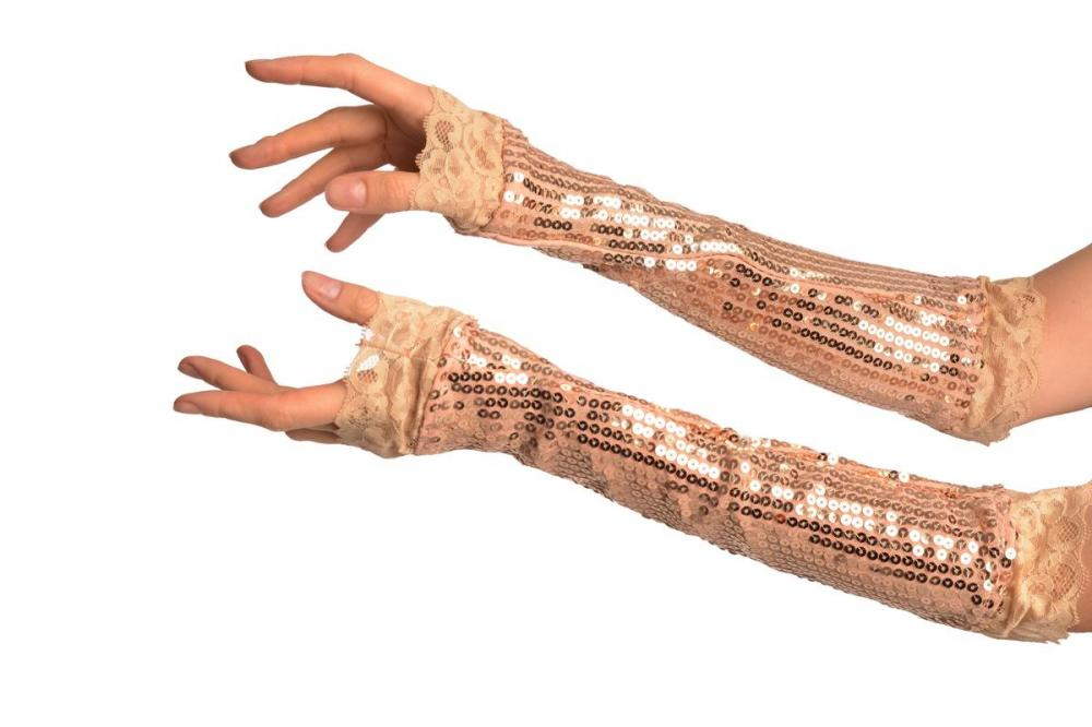 Gold Sequin Elbow Party Gloves With Lace