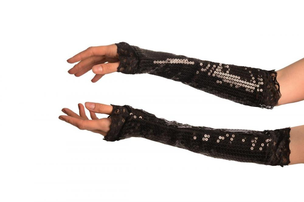 Black Sequin Elbow Party Gloves With Lace