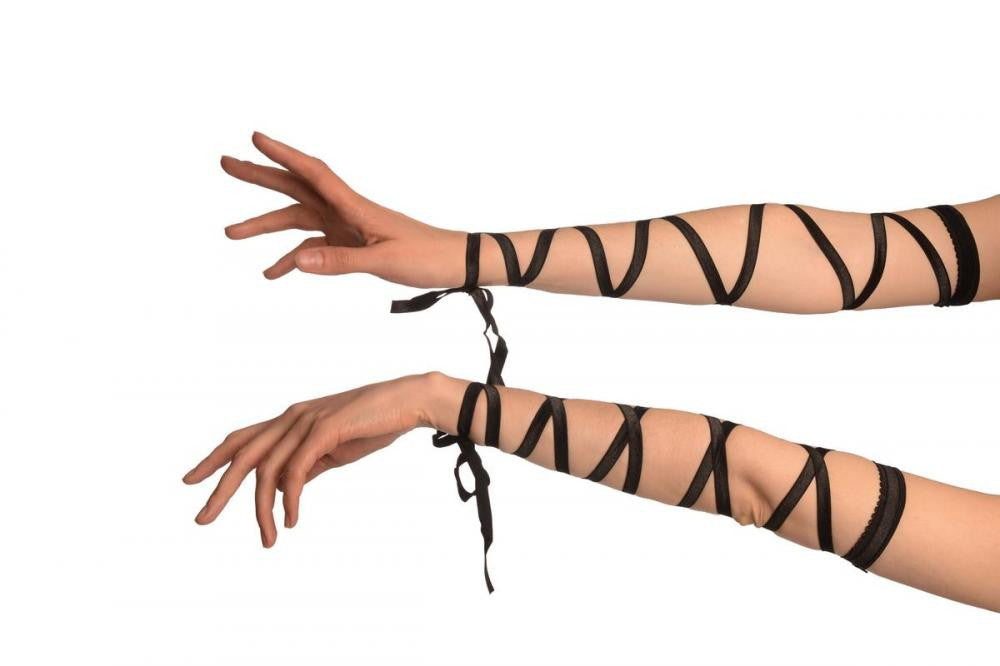 Black Elasticated Satin Ribbon Arm Wraps (Gloves)