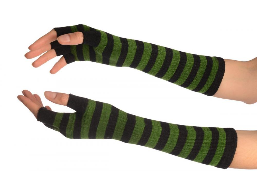 Green & Black Stripes Fingerless Gloves