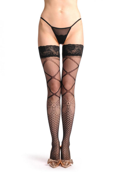 Amazon Bow Fishnet With Lace Silicon Garter