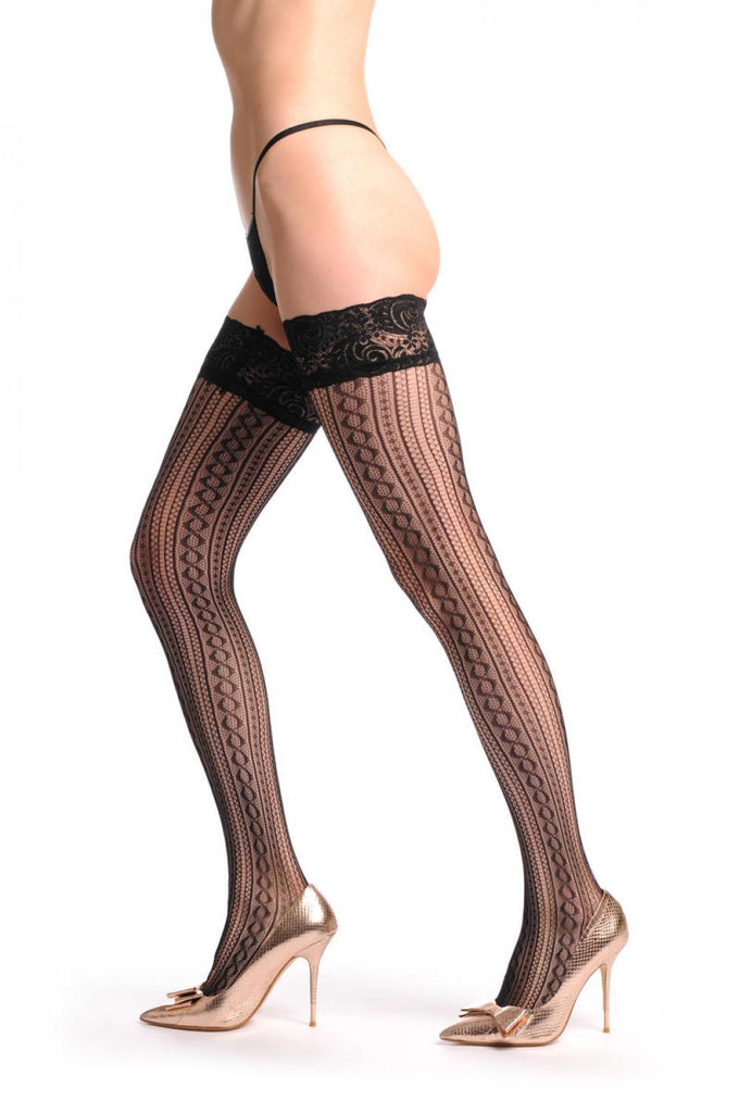 Burlesque Stripes Fishnet With Lace Silicon Garter