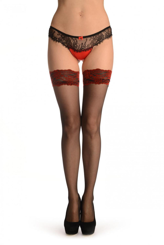 Black With Luxurious Red Velvet Silicon Garter