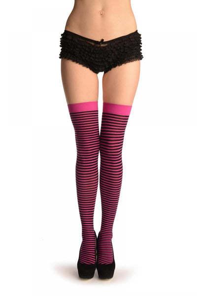 Black & Pink Thin Stripes Socks Knee High