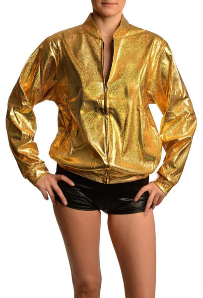 Gold Shiny Gloss Sparkles Unisex Zip Disco Jacket