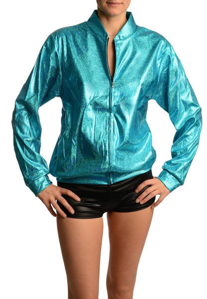 Blue Shiny Gloss Sparkles Unisex Zip Disco Jacket