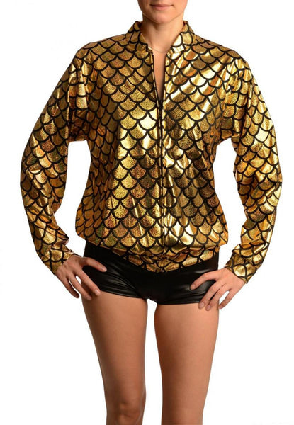 Gold Shiny Gloss Mermaid Scales Unisex Zip Disco Jacket