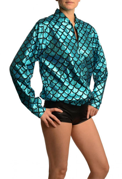 Blue Shiny Gloss Mermaid Scales Unisex Zip Disco Jacket