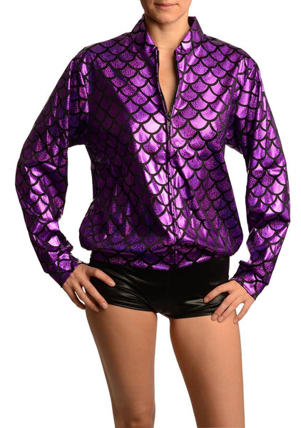 Purple Shiny Gloss Mermaid Scales Unisex Zip Disco Jacket