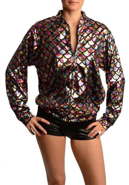 Silver Rainbow Shiny Mermaid Scales Unisex Zip Disco Jacket