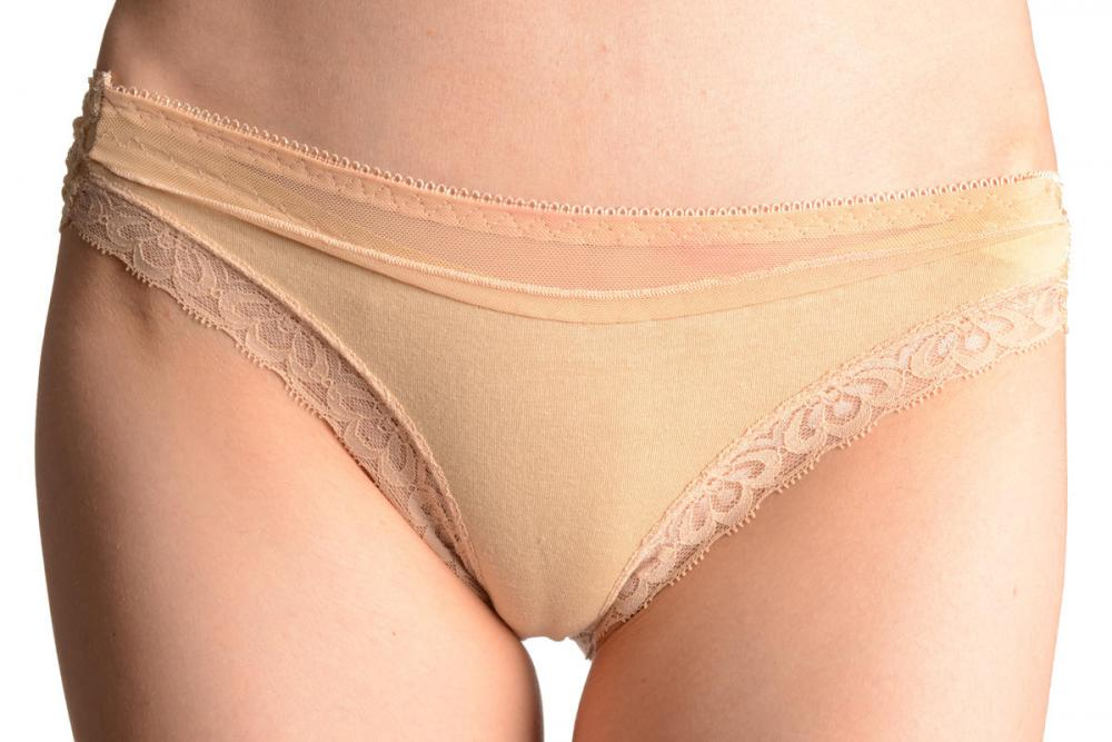 Floral Lace, Cotton & Plain Mesh Stripe Beige High Leg Brazilian