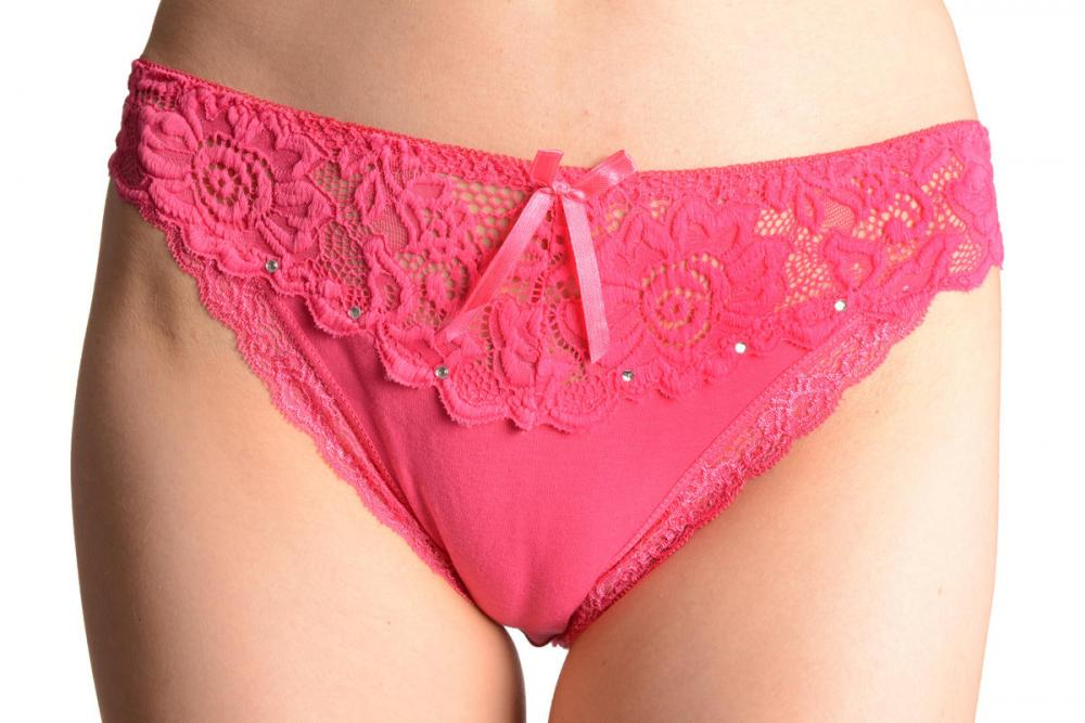 Cotton & Lace Top Trim With Crystals Pink High Leg Brazilian
