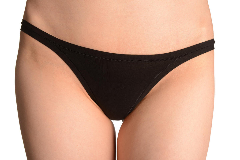 Black Cotton Low Rise Bikini