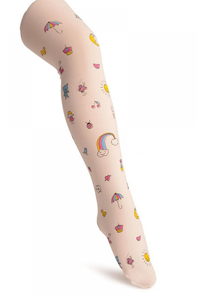 White With Printed Rainbow & Ice Cream - Girls Tights