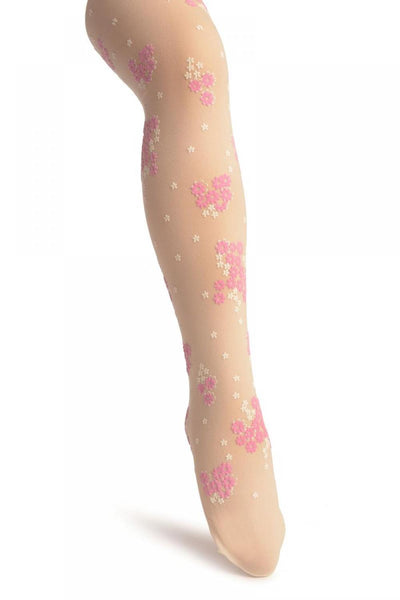 Cream With Rubberized Pink & White Daisies - Girls Tights