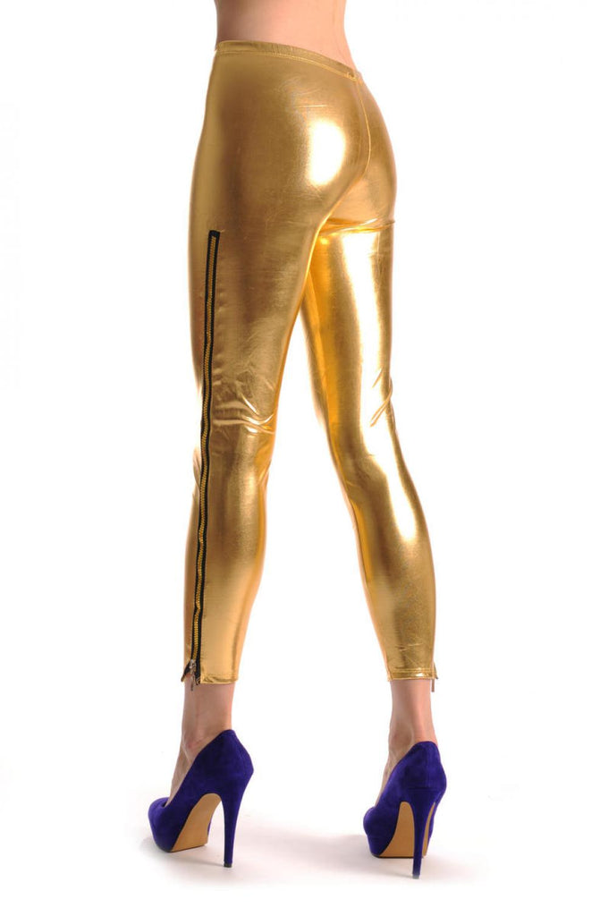 Gold Shiny Faux Leather Wet Look With Side Zip