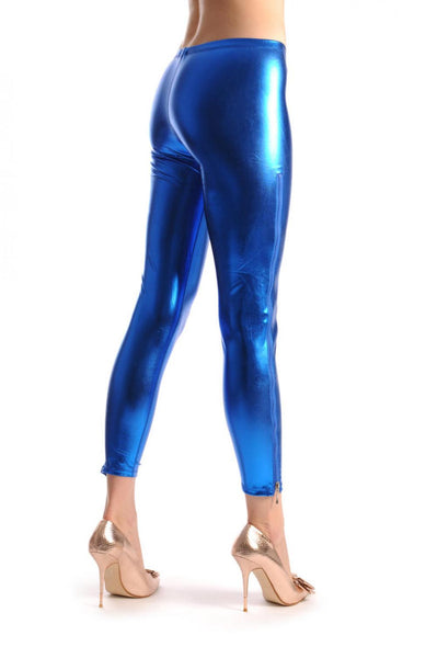Blue Shiny Faux Leather Wet Look With Side Zip