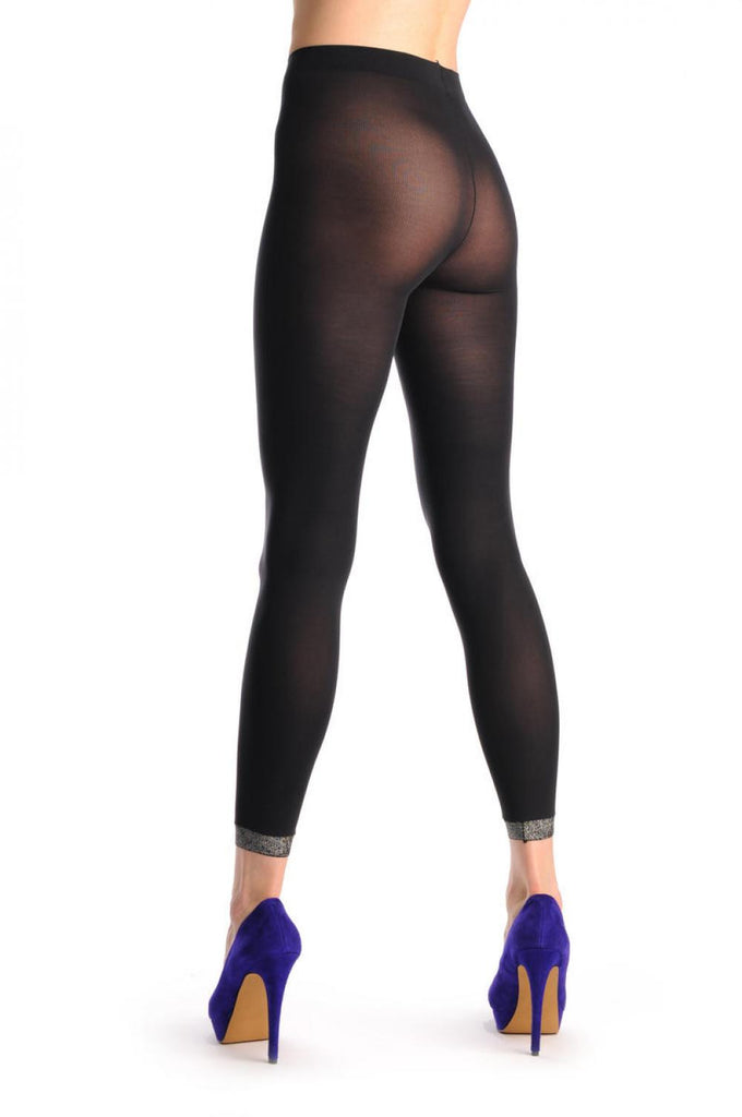 Black Capri (leggings) With Silver Lurex Trim
