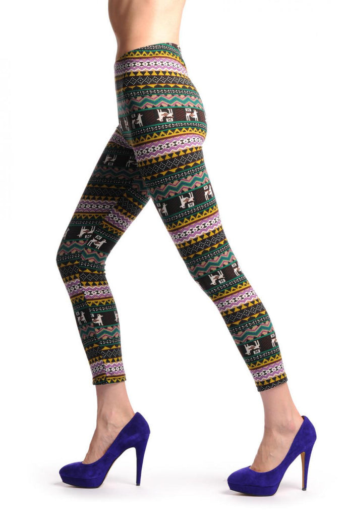 Purple Mustard & Black Aztec Jacquard Knit Print