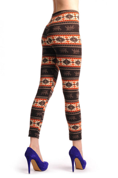 Beige Orange & Brown With Reindeers Aztec Jacquard Knit Print