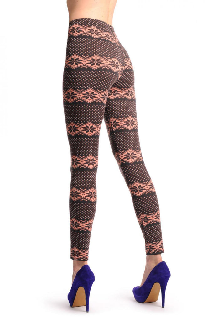 Soft Pink & Dark Brown Aztec Jacquard Knit Print