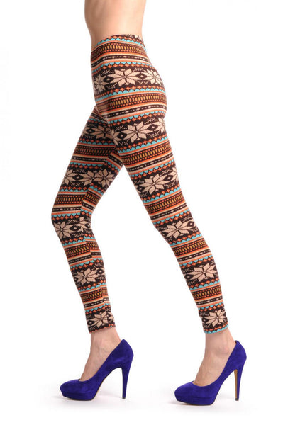 Beige Orange Blue & Brown Aztec Jacquard Knit Print