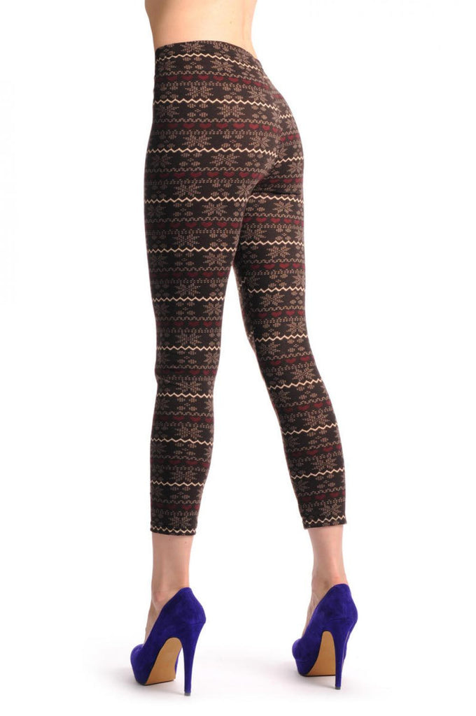 Beige & Burgundy On Dark Brown Aztec Jacquard Knit Print